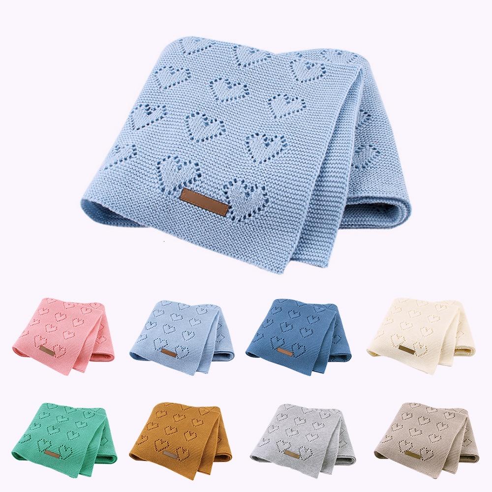 Cotton Baby Blankets Newborns Solid Knitted Baby Stroller Bedding Quilts Soft Toddler Swaddling Wrap Infantil Blanket 100*80cms