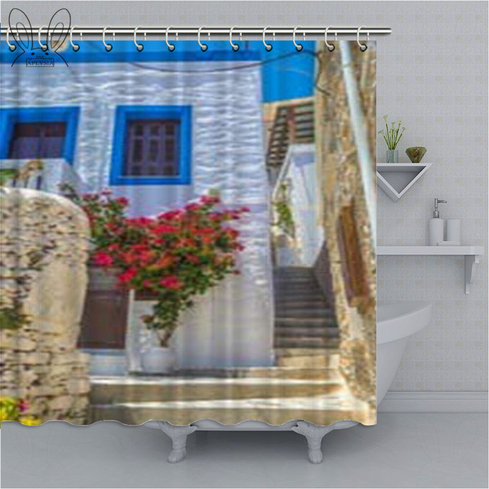 red flower blue greek door with a sea view on island shower curtain with bathroom set waterproof fabric for bath decor