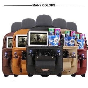 Image 2 - Pu Leder Pad Tasche Auto Sitz Organizer Faltbare Tisch Tablett Reise Lagerung Tasche Faltbare Esstisch Auto Sitz Lagerung Tasche