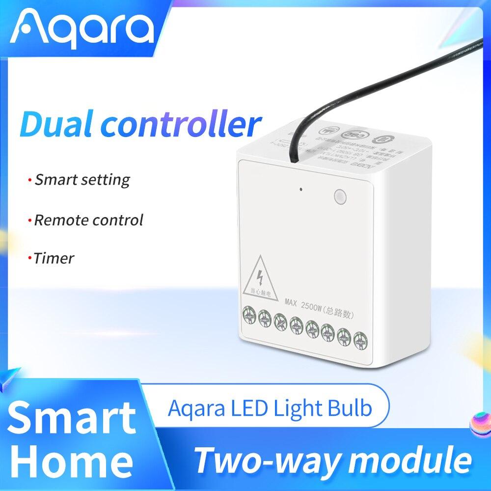 Aqara Mini Zwei-weg Control Modul Smart Switch Drahtlose Relais Controller 2 kanäle Arbeit Für xiaomi Mijia APP Hause kit