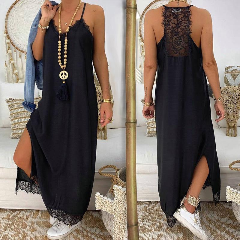 Women Lace Boho Dress Summer 2019 Bohemian Sleeveless Black Beach Dress Split Spaghetti Strap Loose Ladies Long Dresses Maxi in Dresses from Women 39 s Clothing