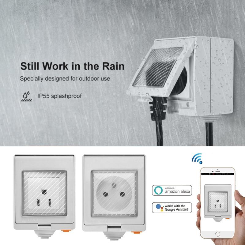 SONOFF S55 Waterproof IP55 Wifi Smart Power Socket Timer Outdoor AU/EU/UK/US/ZA Plug Remote Control Works With Alexa Google Home