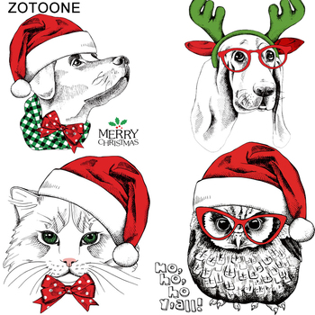 ZOTOONE Heat Transfers Iron on Patches for Clothing DIY Appliques A-level Washable Merry Christmas Animal Cat Clothes Stickers A zotoone printed drink beer heat transfers vinyl ironing clothes stickers iron on patches for clothing diy cocktail appliques e