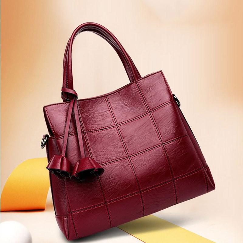 Women Handbag Genuine Leather 2020 New Fashion Big Shoulder Bag For Women Pommax Black Women Shopping Bag
