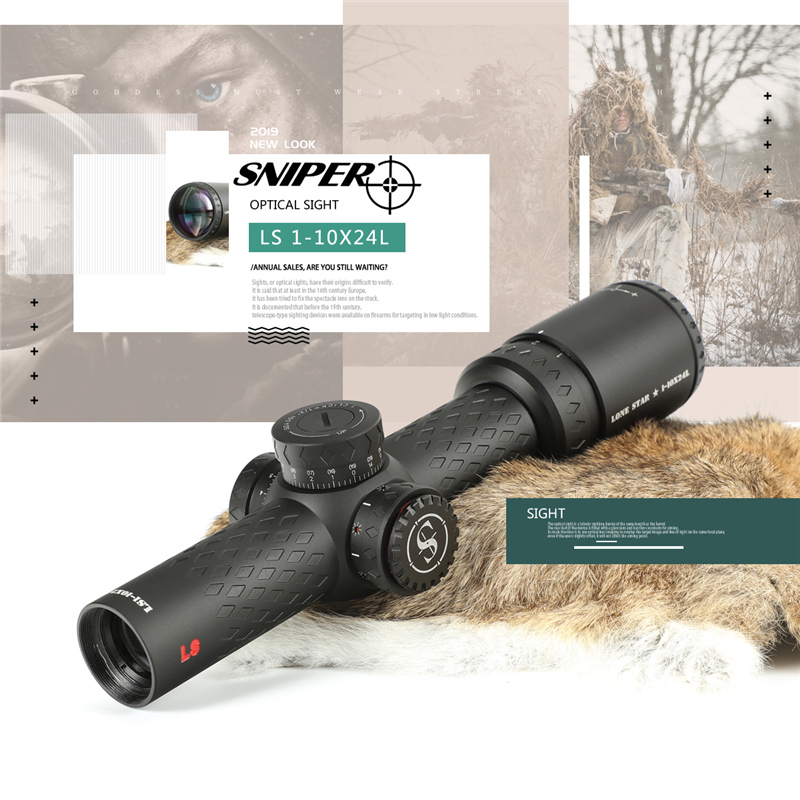 SNIPER LN 1-10x24 L Riflescope Tactical Rifle Scope Glass Etched Reticle Hunting Optics Sight Red Dot 20mm Mounts Hunting Scope