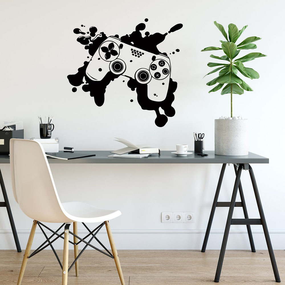 Gaming Controller Wall Decal Gamer Vinyl Stickers Joysticks Video Game Wall Stickers for Game Room Boys Teens Room Decor C791