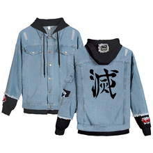 Juvenile Manga Dark Fantasy Demon Slayer: Kimetsu No Yaiba Harajuku Printed Denim Jacket Fashion Spring And Autumn Denim Jacket(China)