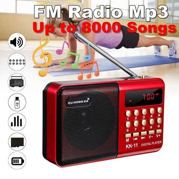 K11 FM Mini Radio Rechargeable Portable Handheld Digital FM USB TF MP3 Player Speaker Multifunction Recorder