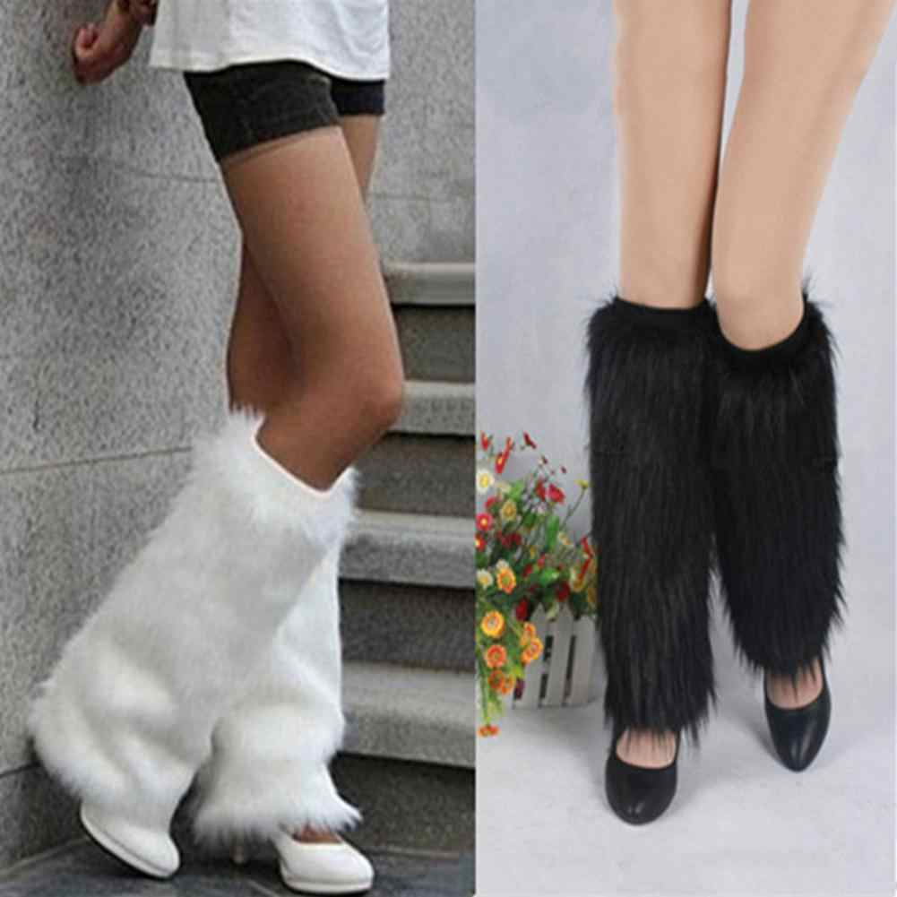 Winter Fashion Solid Color Women Boot Covers Warm Furry Faux Fur Leg Warmers