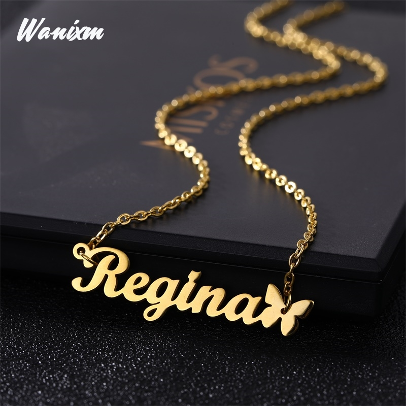 Custom Necklace Butterfly Pendant Stainless Steel Gold Chain Personalized Name Necklaces Choker Jewelry Necklaces for Women(China)