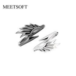 MEETSOFT argent plaqué anneau d'ouverture pour les femmes Simple réglable rétro petit métal cygne de Couple unique noir bijoux cadeau