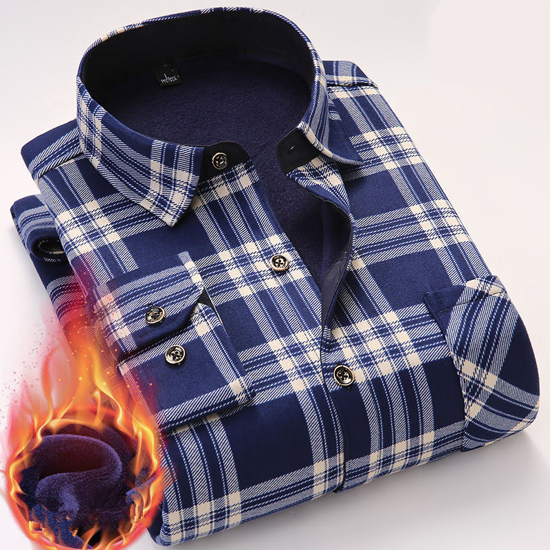 Casual Winter Long Sleeve Dress Shirt For Men Plaid Warm Thick Velvet Fleece Shirts Soft Flannel Camisa Masculina Asian Size 4XL