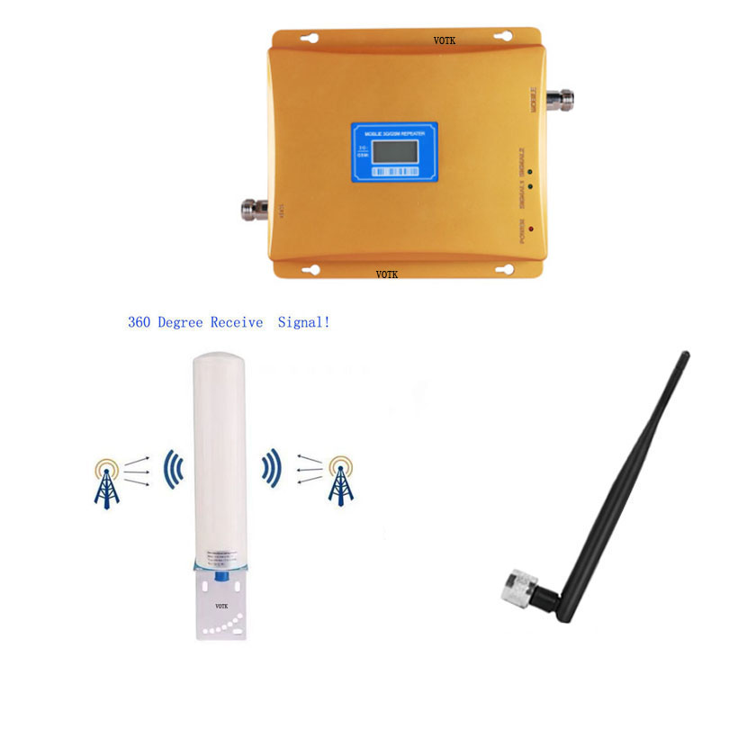 VOTK 2g3g GSM Signal Booster GSM 3g Dual Band Signal Repeater 900 2100 Cell Phone Signal Amplifier  With Omni Antenna