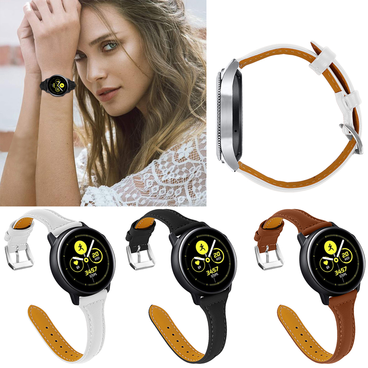Adjustable Universal Cowhide Leather Watch Band Replacement Strap White/20mm Fits For 5.5