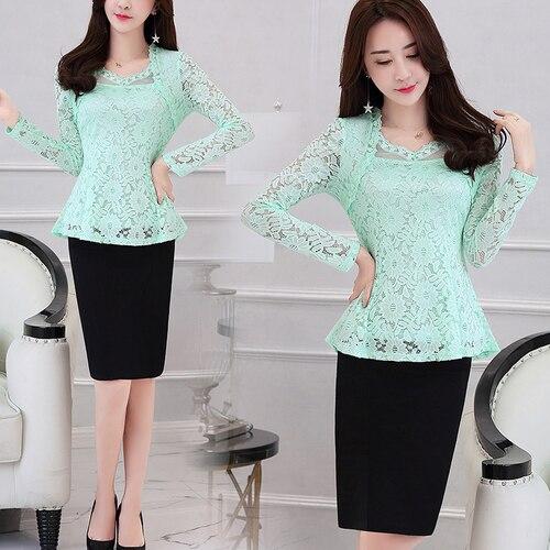 Plus Size M-4XL Lace Women clothing Pink Blusas 2021 New Lace Shirt Tops Female Elegant Long-sleeve Lace Women Blouse shirt 117F 14