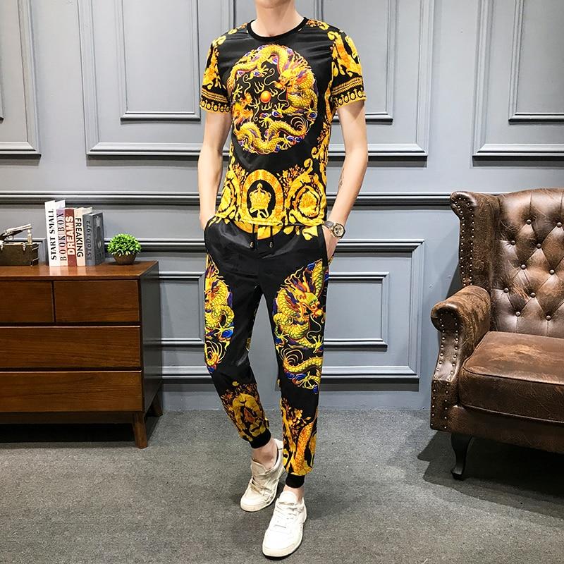 Golden Dragon Print Men's Sportswear Summer T-shirt Pants Casual Suits 2Pcs Tracksuit Men Sweatsuit Luxury Brand Men Clothes