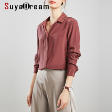 SuyaDream Silk Blouses Woman 100% REAL SILK CREPE Solid Long Sleeve Basic Office
