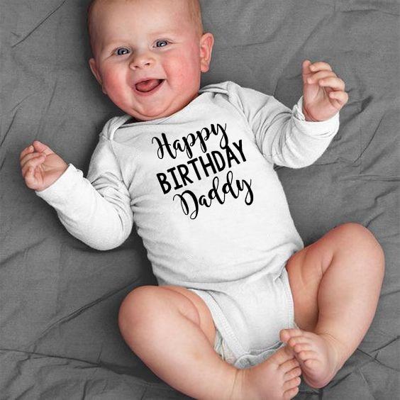 Glücklich Geburtstag Papa Neugeborenen Kinder Baby Jungen Mädchen Infant Langarm 100% BAUMWOLLE Overall Babe Body Kleidung Outfit Overall