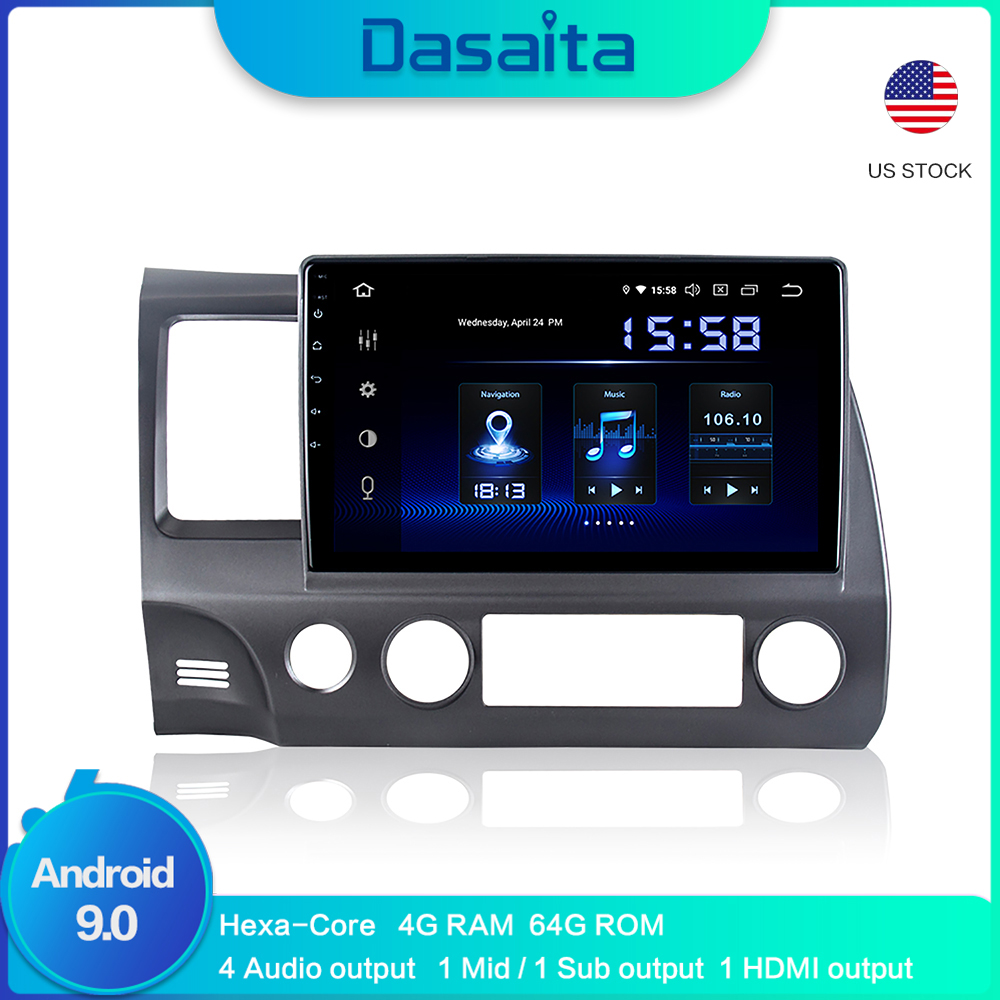 Android Car GPS navigation for Honda Civic 2009 2010 2011 with Android 9.0 Car GPS Radio Player 1 Din 10.2 HD Screen image