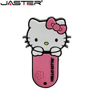 Image 5 - JASTER New style 4 colors Hello Kitty USB Flash Drive cat pen drive special gift fashion cartoon Animal pendrive 64GB/32GB/16GB