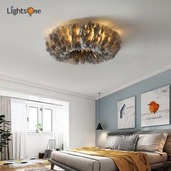 Bedroom feather ceiling lamp simple modern living room warm girl children room lamp