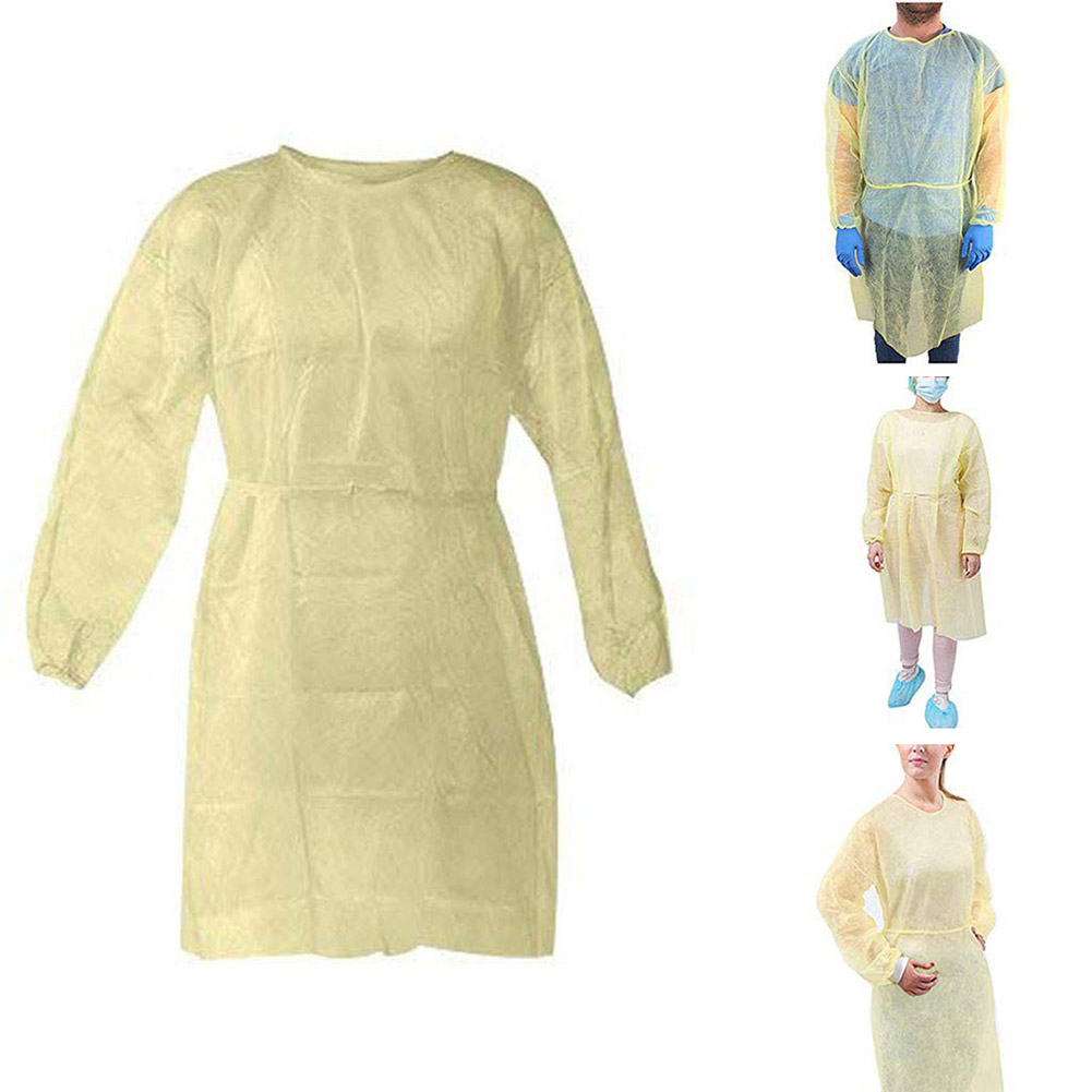 10pcs/set Yellow Disposable Isolation Clothes Non-woven Dust-proof Green Security Protection Suit Surgical Suit Isolation Set