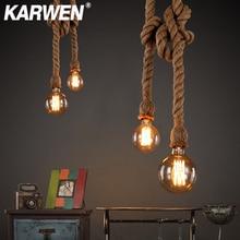 Vintage cáñamo cuerda colgante Base de lámpara E27 1m 1,5 m 2m 2,5 m 3m 85-265V desván Industrial Retro colgante Edison ST64 G95