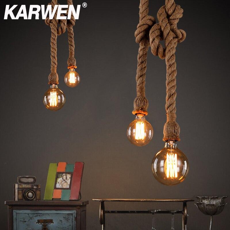 Vintage kenevir halat askılı lamba tabanı E27 1m 1.5m 2m 2.5m 3m 85-265V çatı endüstriyel Retro asılı Edison ST64 G95 kolye ışık