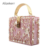 Acrylic Box Evening Bags Women Luxury Flowers Lock Rivet Stone Pattern Tote Clutch Purse Female Dinner Carteras Mujer De Hombro