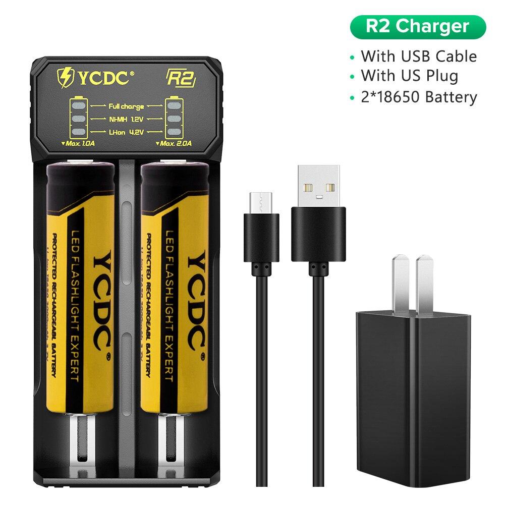 YCDC-cargador de batería para 18650, 26650, 21700, 18350, AA, AAA, 3,7 V/3,2 V/1,2 V/batería NiMH de litio + 2/4 Uds., 3,7 V, 3000 Mah, 18650 celdas