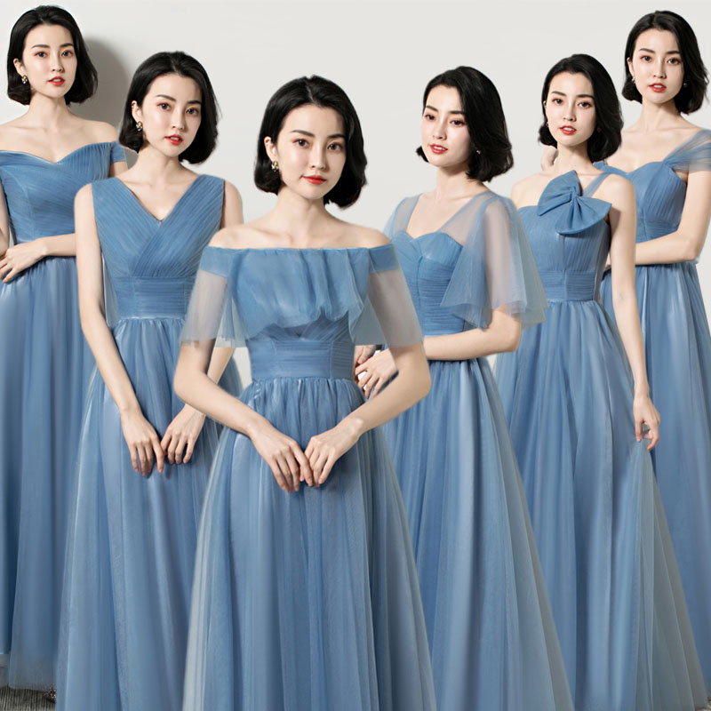Wedding Guest Dress Elegant Bridesmaid Short Sleeves Gray Blue A-Line Floor-Length Sexy Prom Azul Royal Long Party Dress Vestido