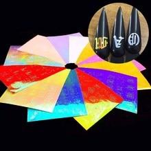 Holographic Alphabet Nail Sticker 26letter Pattern Design DIY Strip Tape Reflective Adhesive Foils Laser Art Decal