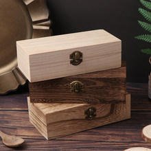 DM 1pcs/Set 3 Models Wooden Storage Box Natural Wood Jewelry Boxes Retro Vintage Organizer Desktop Clam-shell Storage Case Home