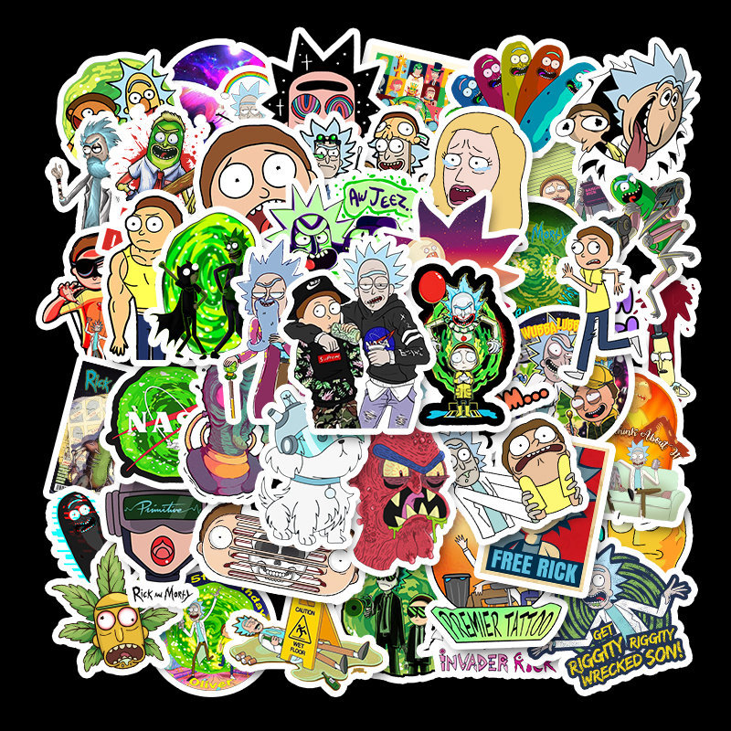 50Pcs Drama Rick And Morty  Stickers Decal For Laptop Snowboard Luggage Car Fridge DIY Styling Vinyl Home Decor Pegatina