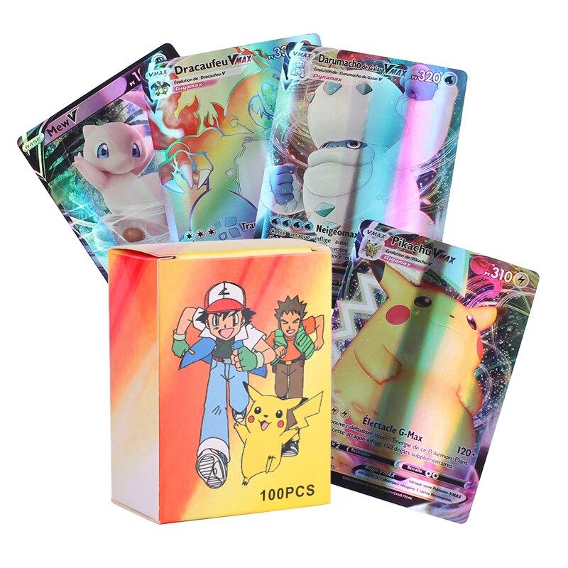 2020 mais novo melhor venda 300 pces francês versão pokemon cartão com 20ex 20mega 120 gx 110v 30 vmax