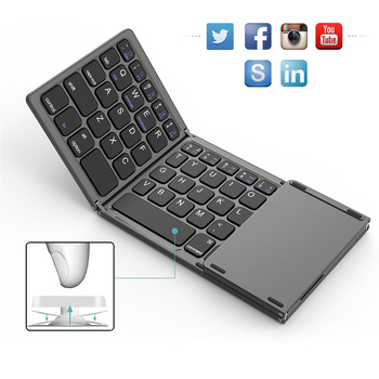 Mini Folding Touch Mouse Keyboard Wireless Bluetooth Keyboard With Touchpad For Laptops Tablet Pc ipad Android ios Mobile Phones keyboard mini compact triple folding keyboard wireless phone tablet keyboard with mouse touchpad