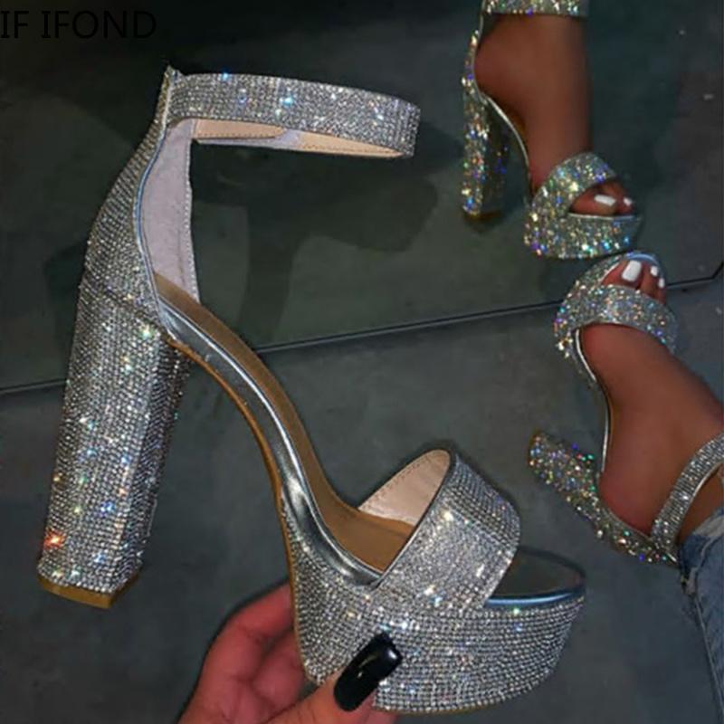 IF IFOND Women Fashion Shinning Glitter Silver Rhinestone Pumps Sexy Ankle Strap Buckle Thick High Heels Party Wedding Sandals