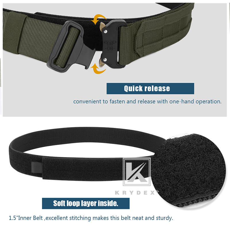 "KRYDEX 1.75"" & 1.5"" Tactical Cobra Belt Rigger Duty 2 IN 1 Outer & Inner Quick Release MOLLE Belt For Hunting Shooting Outdoor-4"
