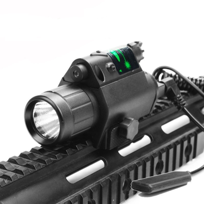 Green/Red Laser Sight LED Flashlight with 20mm Picatinny Rail Mount for Glock 17 19 22 Hunting Rifle-2