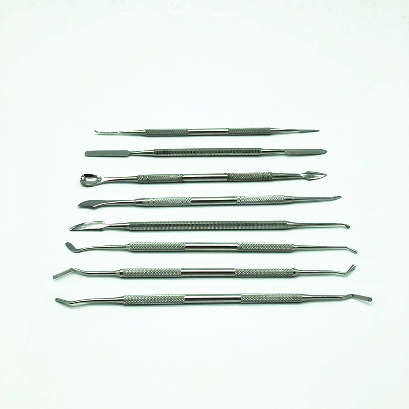 8Pcs Metal Spatula for <font><b>Wax</b></font> Knife Kit Sculpture <font><b>Tools</b></font> Blade Dental Knife Carve Pottery Clay Carving Modeling free shipping image