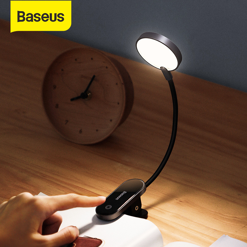 Baseus Book Light USB Led Rechargeable Mini Clip-On Desk Lamp Light Flexible Nightlight Reading Lamp for Travel Bedroom Book
