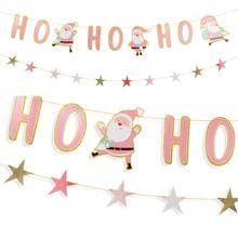 Set of 2 Pink Christmas Decorations for Home Glitter Ho Sign Holiday Banner Star Garland Santa Claus Merry Decor
