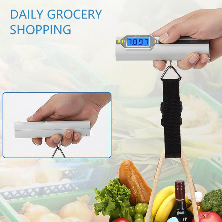 50kg x 0.01kg LED Digital Luggage Weighing Scale Electronic Weight Balance Fishing Travel Weighting Steelyard Hanging Hook Scale