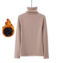 White turtleneck t-shirt women fall winter 2019 warm thick long sleeve pullover