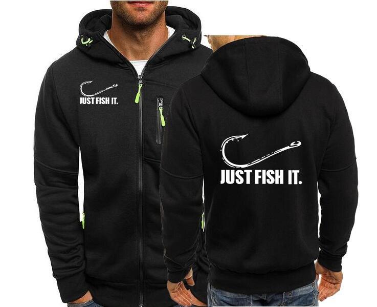 Толстовки на молнии для рыбалки, мужские свитшоты Just Fish It для рыбалки, крючка, приманки и снасти, свитшоты, мужской кардиган, уличная одежда, ...