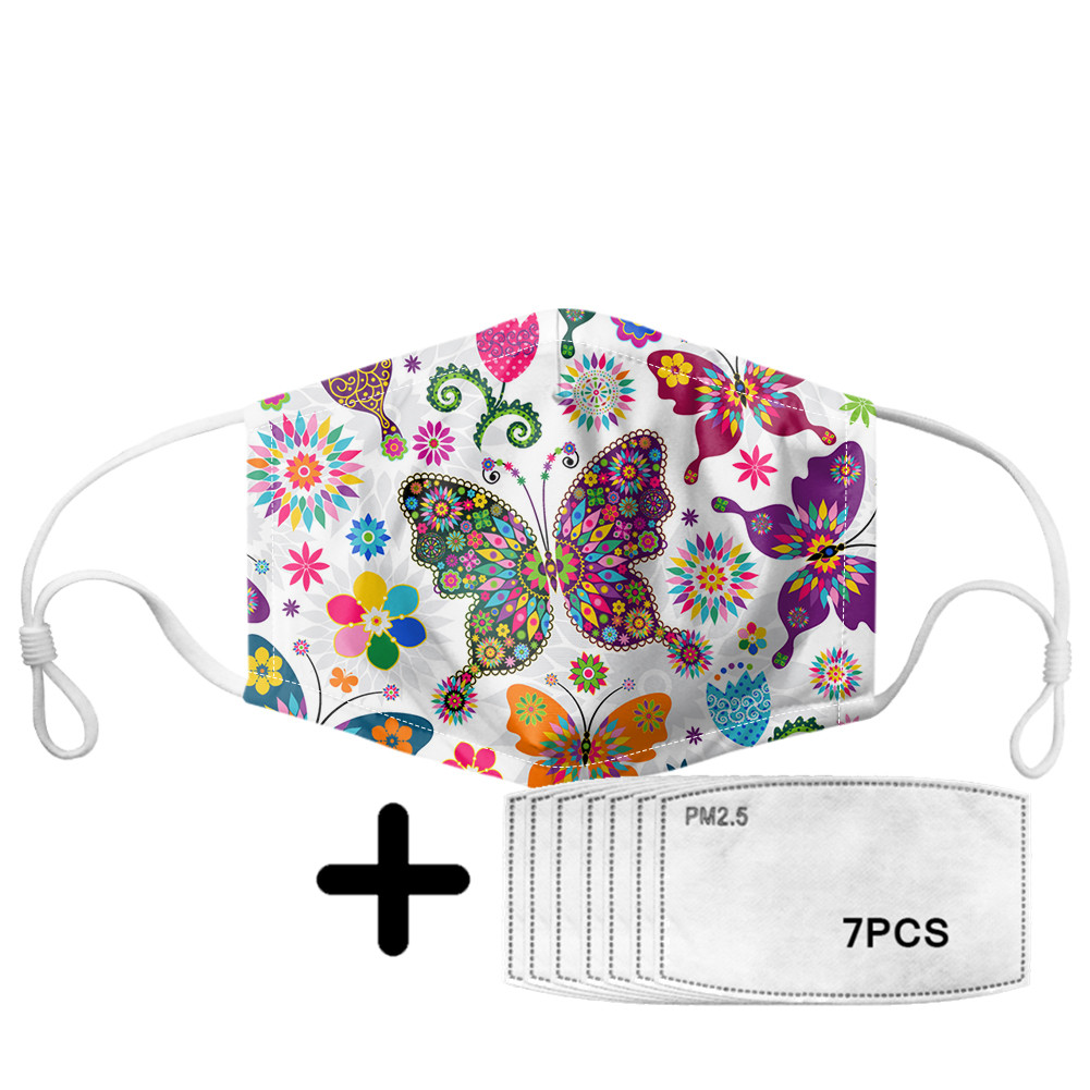 Color Vintage Butterfly Print Woman Mouth Mask With 7Pcs Filters PM2.5 Reusable Anti-dust Mask Washable Mask Adjustable Earloop