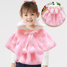 2019New Baby Girls Fur Warm Coat Infant Winter Cloak Jacket Thick Warm Clothes Cute Rabbit Ears Hooded Outerwear Fille Fur Parka 2019new baby girls fur warm coat infant winter cloak jacket thick warm clothes cute rabbit ears hooded outerwear fille fur parka