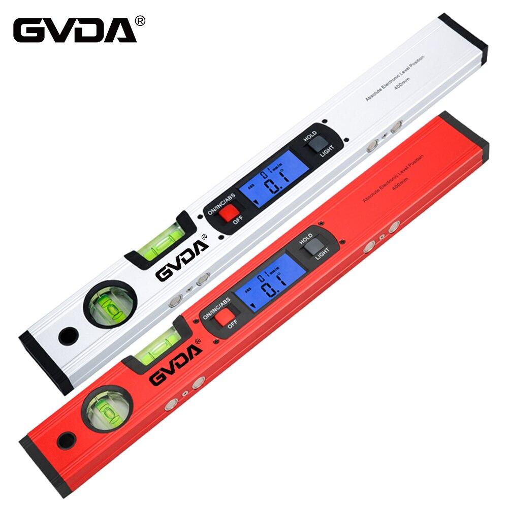 Цифровой магнитный уровень GVDA, электронный уровень, угломер на 360 градусов, транспортир, инклинометр, горизонтальная линейка