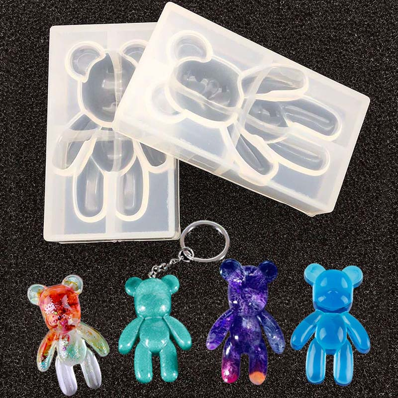 Fashion Silicone Bear Shape Animals UV Molds For Resin Jewelry DIY Mold Resin Molds For Jewelry  DIY  Kids Toys Key Chain