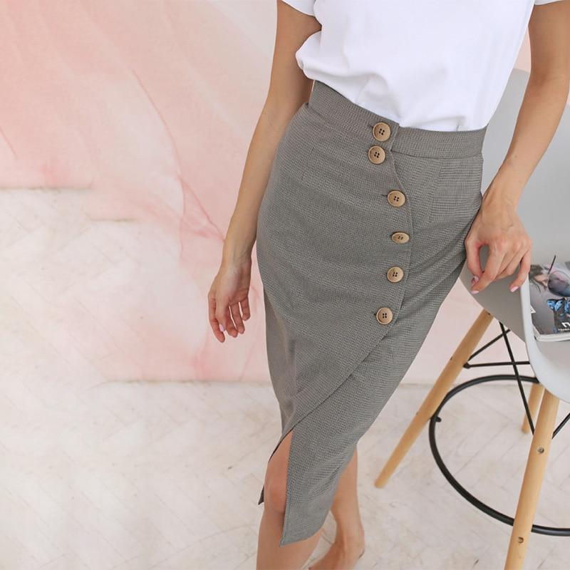 Women Office Lady Front Button Split Slim Skirt High Waist Irregular Mermaid Casual Skirts 2020 Spring New Fashion Women Skirts